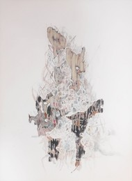 Eidetic image iii by Viraag Desai, Abstract Painting, Mixed Media on Paper, Swiss Coffee color