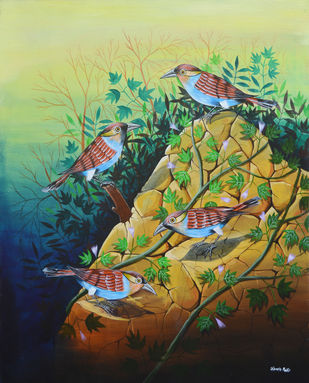 Birds 1008 by santosh patil, Expressionism Painting, Acrylic on Canvas, Pine Glade color