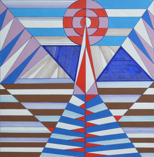 Space D - 22 by S K Sahni, Geometrical Painting, Acrylic on Canvas, Blue color