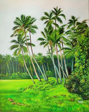 Konkan 2 by Dipali Samant , Expressionism Painting, Oil on Canvas Board, Moon Mist color