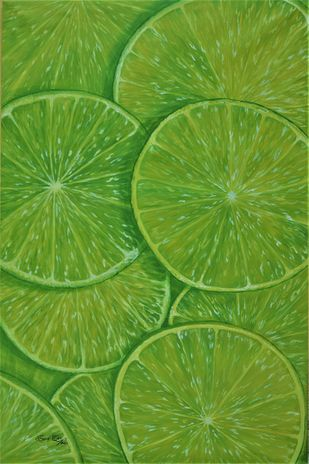 Best Refreshment by Soma Sen, Expressionism Painting, Acrylic on Canvas, Olive Drab color