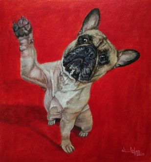 Puppy by Nilofar Ansari, Expressionism Painting, Oil on Canvas, Tamarillo color