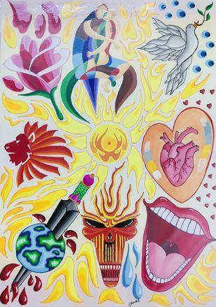 Theme Red Digital Print by Vineet Parkar,Pop Art