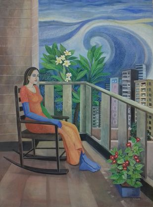 Isolated by Subhamita Sarker, Expressionism Painting, Tempera on Paper, Corduroy color