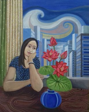 The Lotus by Subhamita Sarker, Expressionism Painting, Tempera on Paper, Fiord color