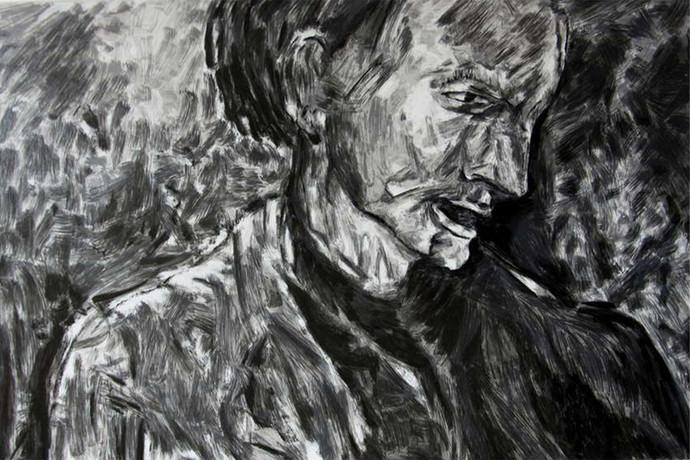 Head by Akbar Padamsee, Illustration Serigraph, Serigraph on Paper, Heavy Metal color