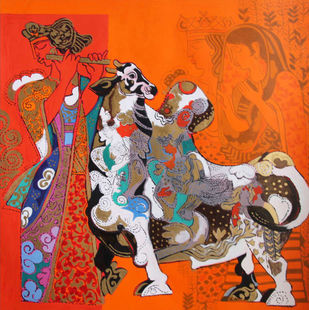 Untitled by Ravindra Salve, Fantasy Serigraph, Serigraph on Paper, Hot Cinnamon color