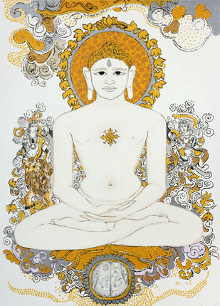 The 24th Thirthankar by Ravindra Salve, Traditional Serigraph, Serigraph on Paper, Cararra color