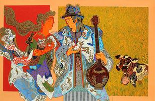 The Essence of DDLJ by Ravindra Salve, Expressionism Serigraph, Serigraph on Paper, Copper color