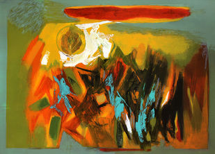 Golden Sun by Sachida Nagdev, Abstract Serigraph, Serigraph on Paper, Yellow Metal color