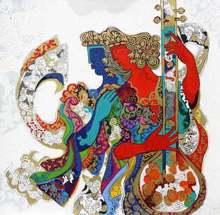 The Saga of Togetherness by Ravindra Salve, Fantasy Serigraph, Serigraph on Paper, Limed Spruce color