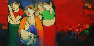 Untitled by Anand Panchal, Decorative Serigraph, Serigraph on Paper, Tamarillo color