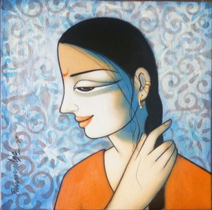 Girl by Pravin Utge, Decorative Painting, Acrylic on Canvas, Nutmeg color