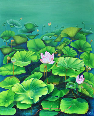 Lotus Series by Vijaya V, Expressionism Painting, Acrylic on Canvas, Chateau Green color