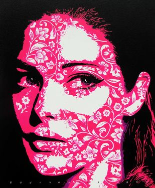 The lady by Sujit Karmakar, Pop Art Painting, Acrylic on Canvas, Razzmatazz color