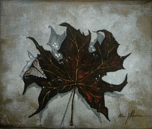 Maple Leaf from Kashmir-By Neeraj Raina by Neeraj Raina, Expressionism Painting, Acrylic on Canvas, Camouflage Green color