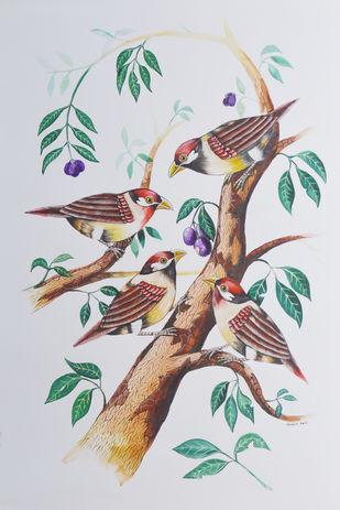 Birds 416 by santosh patil, Decorative Painting, Watercolor on Paper, Roman Coffee color