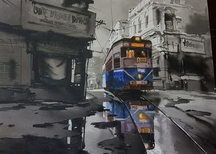 Kolkata City Scape-502 by Arpan bhowmik, Impressionism Painting, Acrylic on Canvas, Tundora color