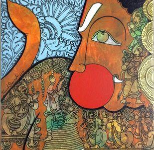 Hanuman by Ramesh Gorjala, Traditional Painting, Acrylic on Canvas, Dirt color