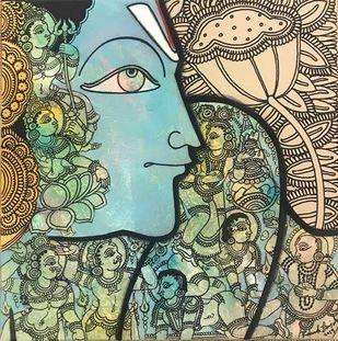 Vishnu by Ramesh Gorjala, Traditional Painting, Mixed Media on Canvas, Clay Ash color