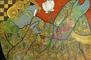 Untitled by Ramesh Gorjala, Traditional Painting, Mixed Media on Canvas, Gold Fusion color