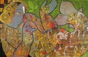 Vishnu by Ramesh Gorjala, Traditional Painting, Mixed Media on Canvas, Gold Fusion color