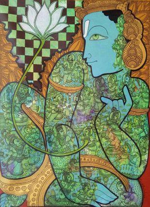 Vishnu by Ramesh Gorjala, Traditional Painting, Mixed Media on Canvas, Flax Smoke color