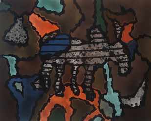 Farmer by Sanket Sagare, Abstract Painting, Acrylic on Canvas, Dune color