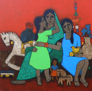 Mother and Daughter by Nagesh Ghodke, Expressionism Painting, Acrylic on Canvas, Jelly Bean color