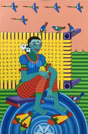 Untitled by Thota Laxminarayana, Traditional Painting, Acrylic on Canvas, Midnight Blue color