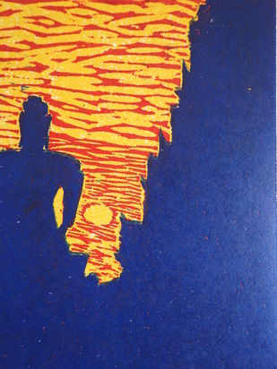BUDHDHHAA by KAJAL PANCHAL, Expressionism Printmaking, Wood Cut on Paper, Bay of Many color