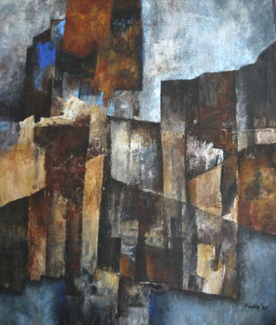 Untitled by Pradip Chaudhuri, Abstract Painting, Acrylic on Canvas, Masala color