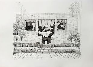 British Council Building by Pooja Wadekar, Illustration Drawing, Pen & Ink on Paper, Quill Gray color