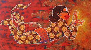 kabalikruta.. Who Has Swallowed The Sun by Pratiksha Bothe, Traditional Painting, Acrylic on Canvas, Tall Poppy color