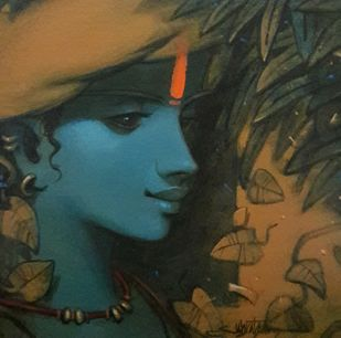 Krishna by Subrata Das, Expressionism Painting, Acrylic on Canvas, Rangitoto color