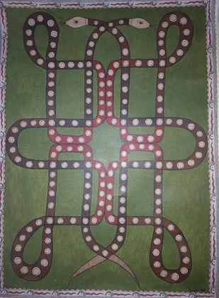 Sak-Saki Naag by Amrita Das, Traditional Painting, Acrylic on Paper,