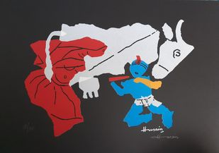 Raadha krishan by M F Husain, Expressionism Serigraph, Serigraph on Paper, Oriental Pink color