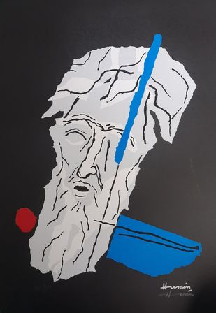 Self portrait by M F Husain, Expressionism Serigraph, Serigraph on Paper, Thunder color