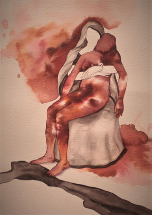 Mothers arms are more comfortable- 2 by Khandakar Ohida, Conceptual Painting, Photo ink on paper, Brandy Rose color