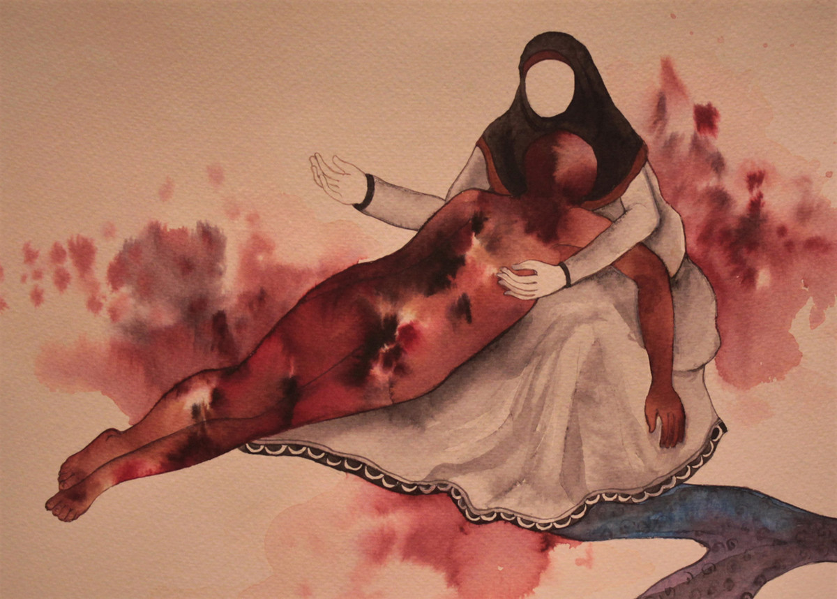 Mothers arms are more comfortable- 3 by Khandakar Ohida, Conceptual Painting, Photo ink on paper, Chocolate color