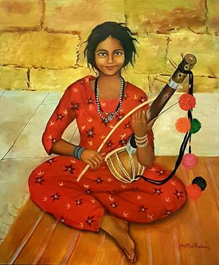 Gypsie girl with music instrument by Anitha Praveen, Realism Painting, Acrylic on Canvas, Fiery Orange color