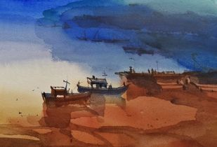 Restful reds 3 by Prashant Prabhu, Impressionism Painting, Watercolor on Paper, Old Copper color