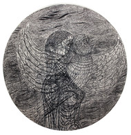 A Migrant- 1 by Tejswini Sonawane, Conceptual Printmaking, Wood Cut on Paper, Sonic Silver color