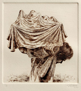 Man carrying a draped object - 1 by VG Venugopal, Conceptual Printmaking, Drypoint on Paper, Cork color