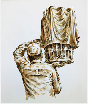 Man Carrying A Draped Object- 2 by VG Venugopal, Conceptual Painting, Watercolor & Ink on Paper, Quill Gray color