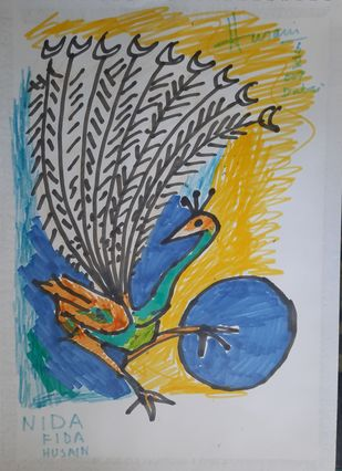 Untitled by M F Husain, Expressionism Drawing, Color Pencil on Paper, Bombay color