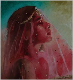 Ghunghat by Akash srivastava, Realism Painting, Oil on Canvas, Buccaneer color