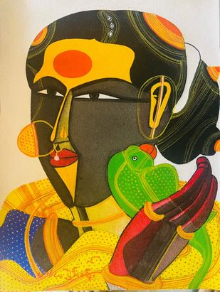 Woman 1 by Thota Vaikuntam, Expressionism Painting, Acrylic on Canvas, Black Marlin color