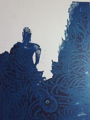 BUDHDH by KAJAL PANCHAL, Expressionism Printmaking, Oil on Paper, Cloud Burst color