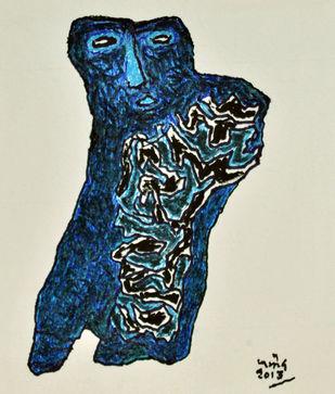 Untitled by Pramodbabu Ramteke, Conceptual Printmaking, Platography on Paper, Blue Dianne color
